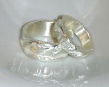 10 mm, 6 mm breite Partnerringe, Eheringe, grobe Struktur,  Silber 999, Flamere
