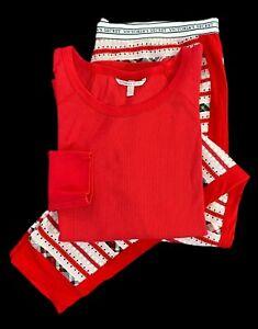 Victorias Secret Pajama Set Long Jane Thermal Top & Pants XLarge Red Multi