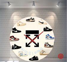 "New Handcrafted 12"" 2D Off White Sneakers clock quartz nike supreme nike  jordan"