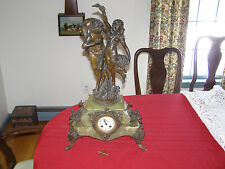 Antique French Statue clock signed AD Mougin movmnt, August Moreau signed Statue