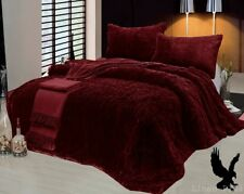 3 Piece Fur Long Pile Burgundy Plush Super Soft Sherpa Blanket King Size 6lbs