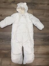 Euc Baby Gap Size 3-6 Month Ivory Down Feather Convertible Bunting Snow Suit