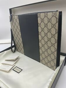 Stunner!* Authentic Gucci Eden GG Supreme Pouch Clutch Bag Limited NWT Black