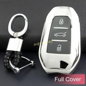 Silver Car Smart Key Chain Full Case Cover For Peugeot 508 2008 3008 Citroen DS