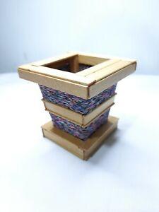 Wooden Handmade Flower Pencil & Serviette Holder vase For Office & Home Deco NEW
