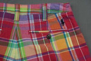 Ralph Lauren Polo Cotton/Linen Blend Bermuda Shorts. Bright Plaid, Women's 0 EUC