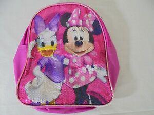 Disney Minnie Mouse Daisy Duck Sparkle Mini Girls Backpack Art pink purple
