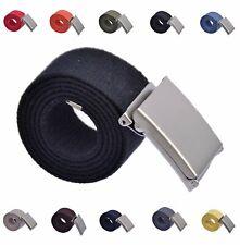 Stoffgürtel Canvas Gürtel 100-150 cm  Klappverschluss Matt Silber  B: 4cm  Sklp