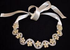 2017 Haarband Haarschmuck Braut Kommunion Strass Perlen  ivory / creme