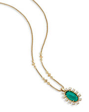 NWT Kendra Scott Brett Pendant Necklace in Emerald Green Halo gold $80.00