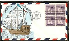 SCOTT 1069 SHIP BUILDING WRIGHT HAND PAINTED FIRST DAY COVER BATH IRON WORKS BIW