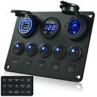 MICTUNING 5 Gang Rocker Switch Panel 12V-24V Toggle  Voltmeter  Dual USB Charger