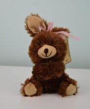 "Greenbrier Chocolate Bunny Rabbit Plush Brown Stuffed Animal Toy Bow Small 7"""