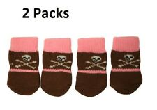 2 X Cute Skull Design Anti-Slip Dog Socks Clean & Comfy Paws Puppy 4pcs Size S
