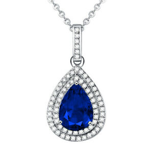 Fashion Pave Setting Tear Drop Cz Ctrystal Necklace With Silver Plated AAA CZ