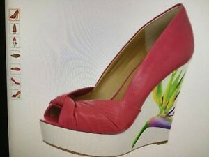 Nine West ChillPill Leather Platform Wedge Shoes Size 7,5 US Pink BNWB