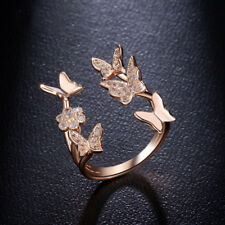 Butterfly Women's Wedding Rings Rose Gold Filled White Sapphire SizeAdjustable