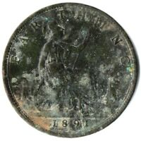 1891 ONE FARTHING OF QUEEN VICTORIA / VERY NICE COLLECTIBLE COIN #OKTE392