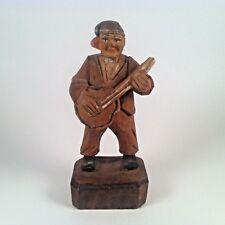 """Vintage ANRI Wood Carving Musician Figurine 3.25"""" #1"""