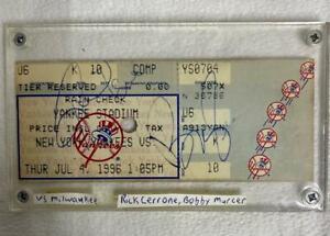 NY Yankees Stadium Ticket Signed by BOBBY MURCER / RICK CERONE