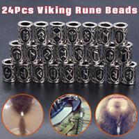 24Pcs Norse Viking Rune Beads Jewelry Making Fit Hair Beard Bracelet Necklace