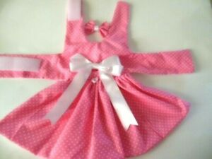 DOG DRESS HARNESS  HOT PINK  WITH WHITE DOTS  NEW   FREE SHIPPING