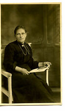 Lady w/ Picture-Jewelry Chains-Brooch-England-RPPC-Vintage Real Photo Postcard