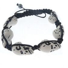 Fashion Braid bracelet with white Howlite skull beads magnetite Macrame