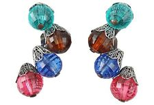 Vintage 1950s Signed Napier BOOK PIECE Faceted Bead Earrings