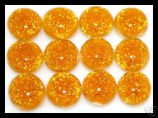 Lot of 6 TWINKLE AMBER Fused Glass DICHROIC Cabochons NO HOLE Beads Flat Back