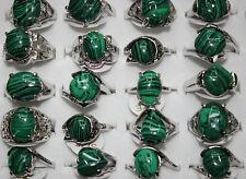 Wholesale lots bulk 10pcs Nature malachite gemstone Top Sliver Lady Rings Gr01