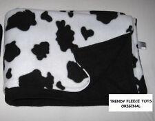 COW FLEECE baby blanket reversible BLACK pushchair buggy BN original