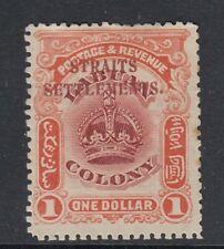 MALAYA STRAITS SETTLEMENTS SG151 1907 $1 CLARET & ORANGE MTD MINT