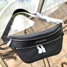 Michael Kors Women Leather Fanny Pack Hip Belt Bag Waist Purse Shoulder MK Black