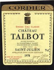 SAINT JULIEN 4E GCC  ETIQUETTE CHATEAU TALBOT 1978 75 CL    30/03/18§
