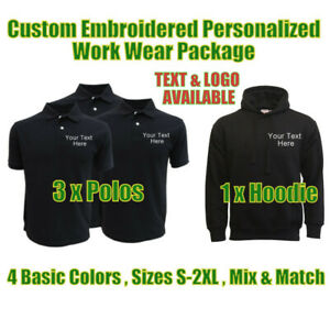 Personalised Embroidered Work Wear Package Uniform 3 Polos + 1 Hoodie Clothing