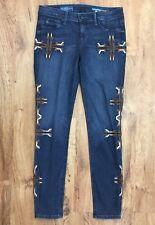 "Fade To Blue Super Skinny Aztec Design Jeans Stretch Denim Womens 29 Waist 32"""