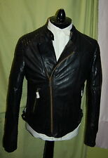 NWT SCOTCH & SODA mens zip front black motorcycle leather jacket XXL - slim fit