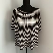 Talbots Off The Shoulder Black And White Striped Shirt Plus Size 3x