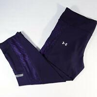 Under Armour Womens Capri Athletic Wear Bottoms Yoga Pants Purple w Pocket