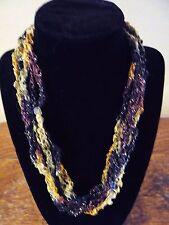 Handmade Crocheted Adjustable Ladder Ribbon Necklace - Amber Twinkle