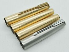 Parker 61 Gold 12K G.F. Cap & Silver Fountain Pen 4Pcs For Repair or Spare Parts