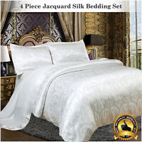 White Satin Duvet Cover Set 4 Piece Jacquard Silk Bedding Set Double  King Size