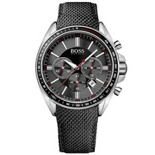 HUGO BOSS Driver Chronograph Black Nylon Strap Stainless Steel Watch HB1513087