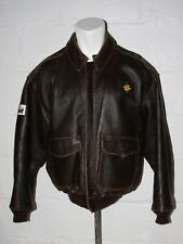 VTG Avirex A-2 Flight Bomber Jacket Brown w Map Lining & Patches Sz L Large