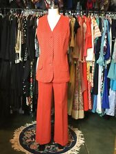 Vtg Queen Casuals 2 Pc Go-Go Suit Tunic Top & Cuffed Stove Pipe Pants Size 13/14