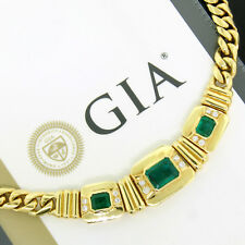 "18K Yellow Gold Heavy 6.15ctw GIA Emerald Round Diamond 15"" Statement Necklace"