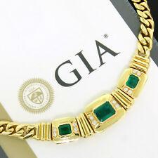 "18K Yellow Gold Heavy 6.15ctw GIA Emerald Round Diamond 15"" Statement Necklace"