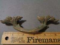 "VINTAGE ANTIQUE ART DECO  DRAWER PULL LEAVES BRASS 3"" HOLE SPACE (33)"