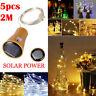 5PC 2M Solar Cork Wine Bottle Stopper Copper Wire String Lights Fairy Lamps LED